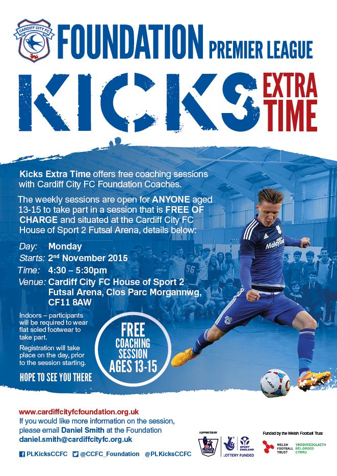Cardiff City FC Kicks Extra Time Offers Free Weekly Sessions 13-15 Age Group