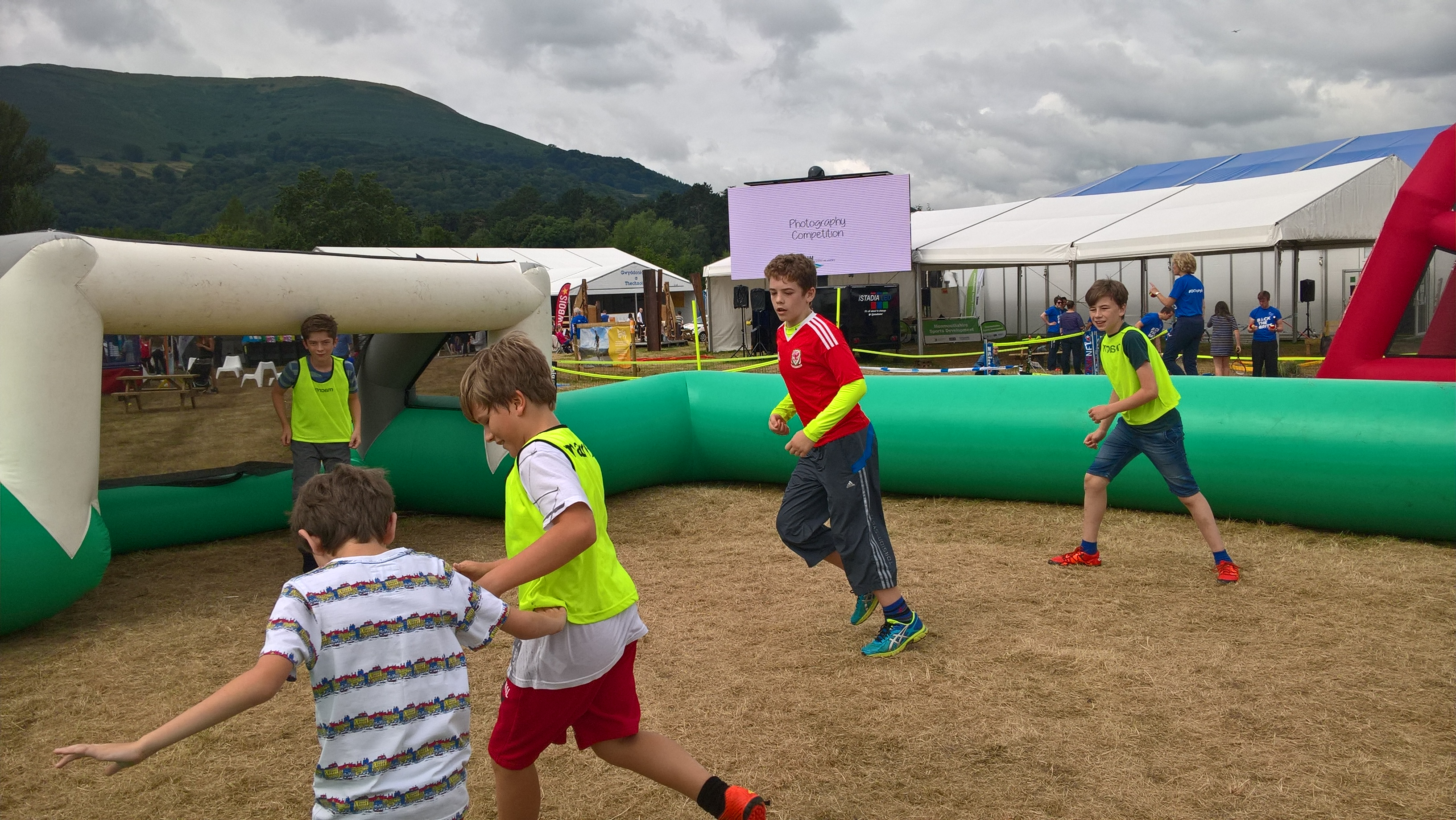 Hundreds of excited children queue up to play football at Eisteddfod 2016