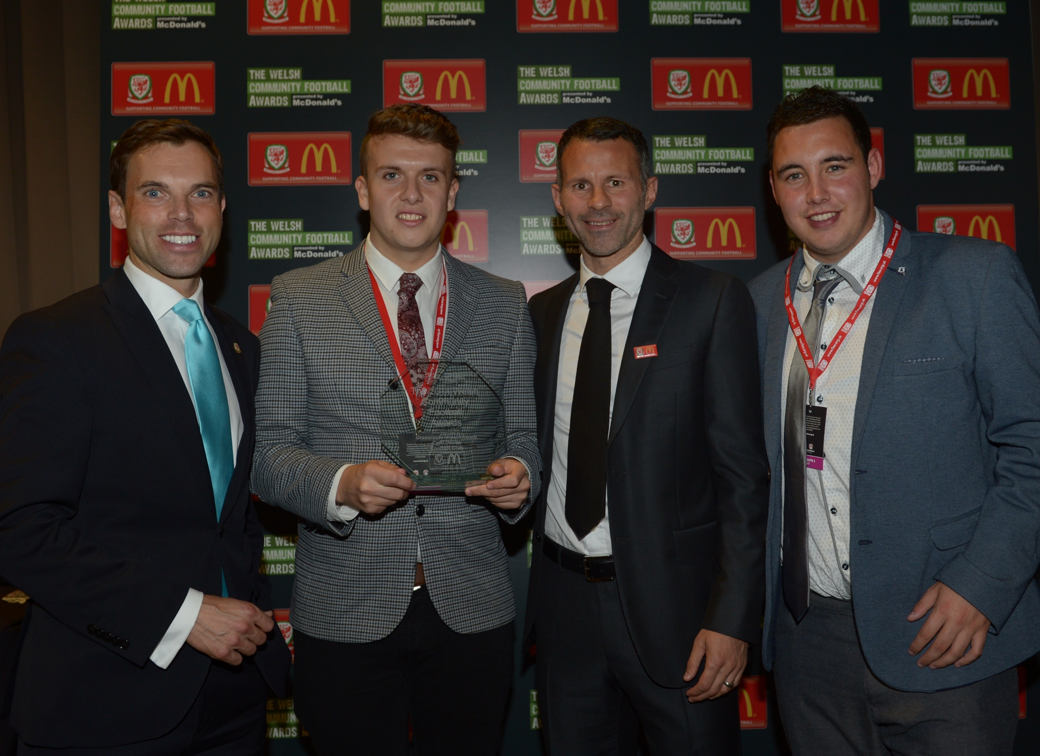 WREXHAM FOOTBALL HEROES COLLECT NATIONAL FOOTBALL AWARD