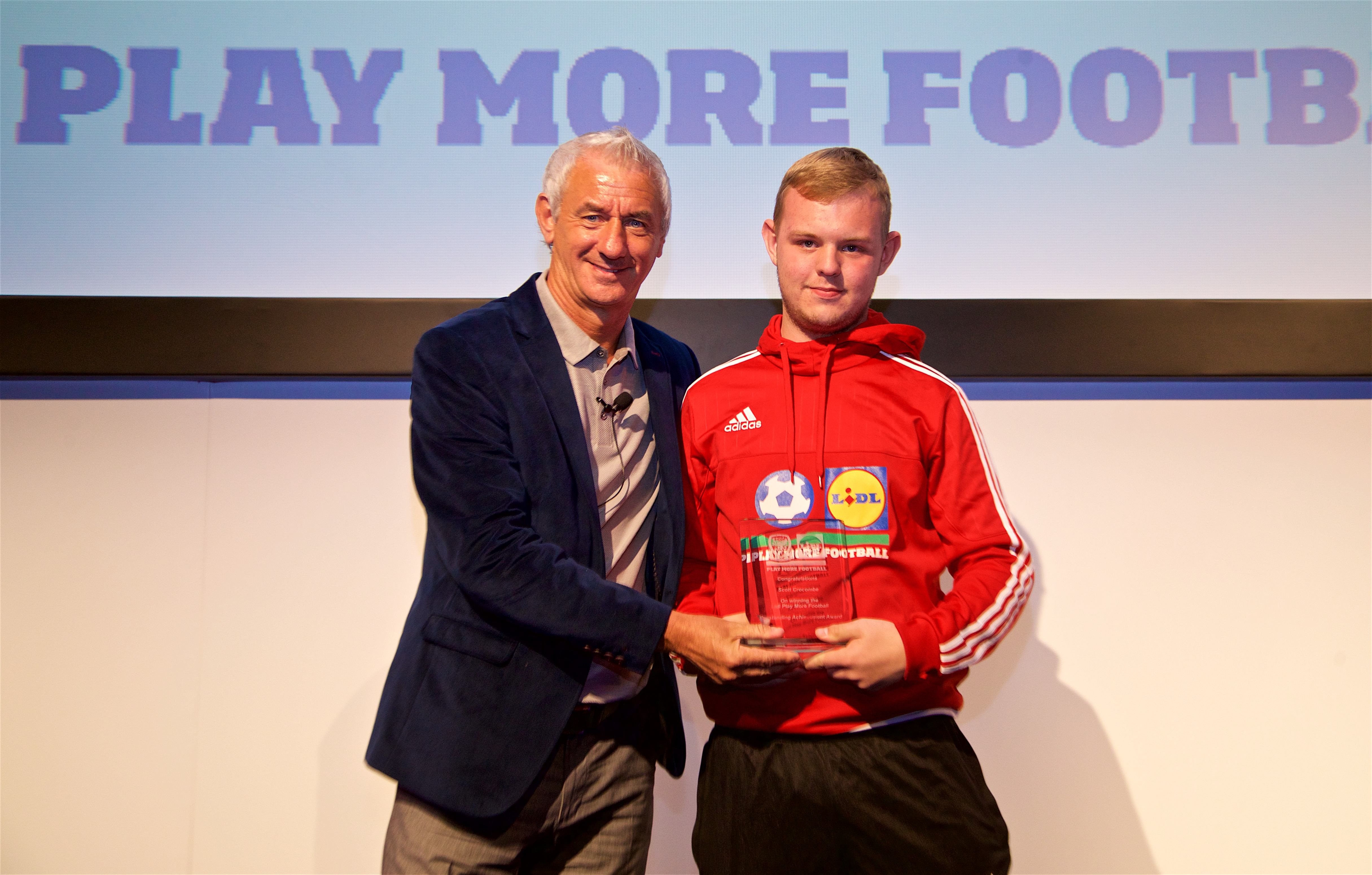 Ian Rush presents Lidl Play More Football Awards to delighted winners