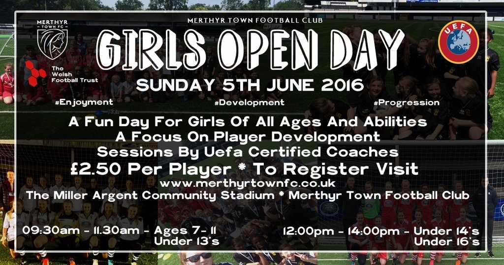 Girls Open Day at Merthyr Town Football Club