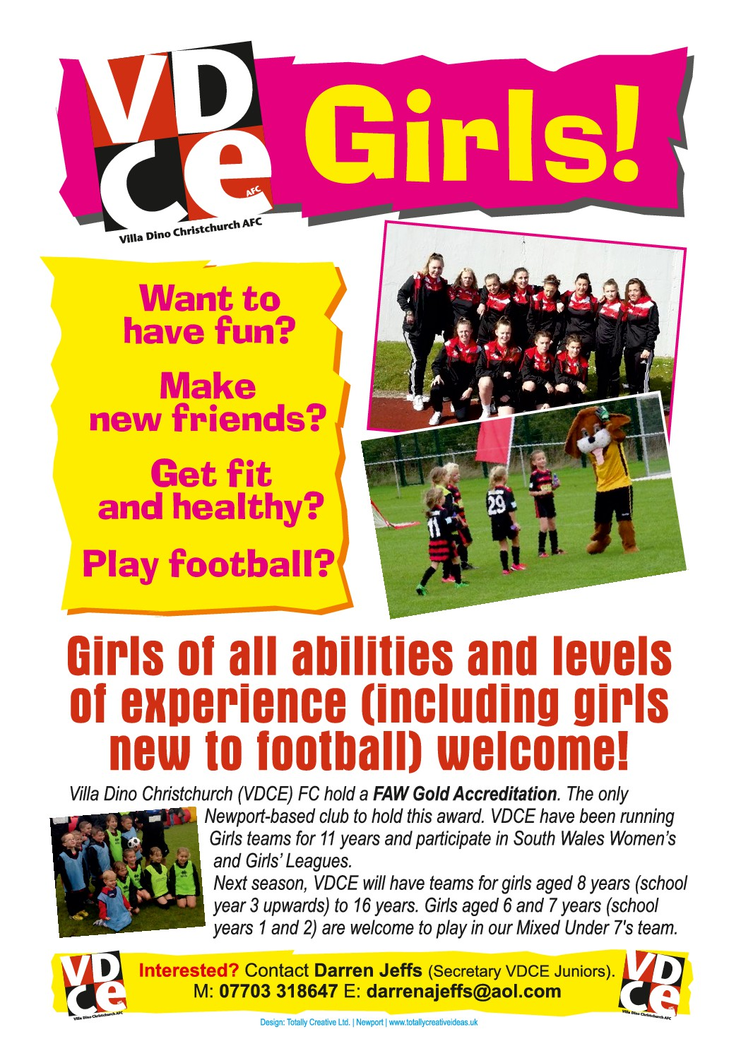 Villa Dino Christchurch AFC Looking For More Girls To Join For 2016/2017