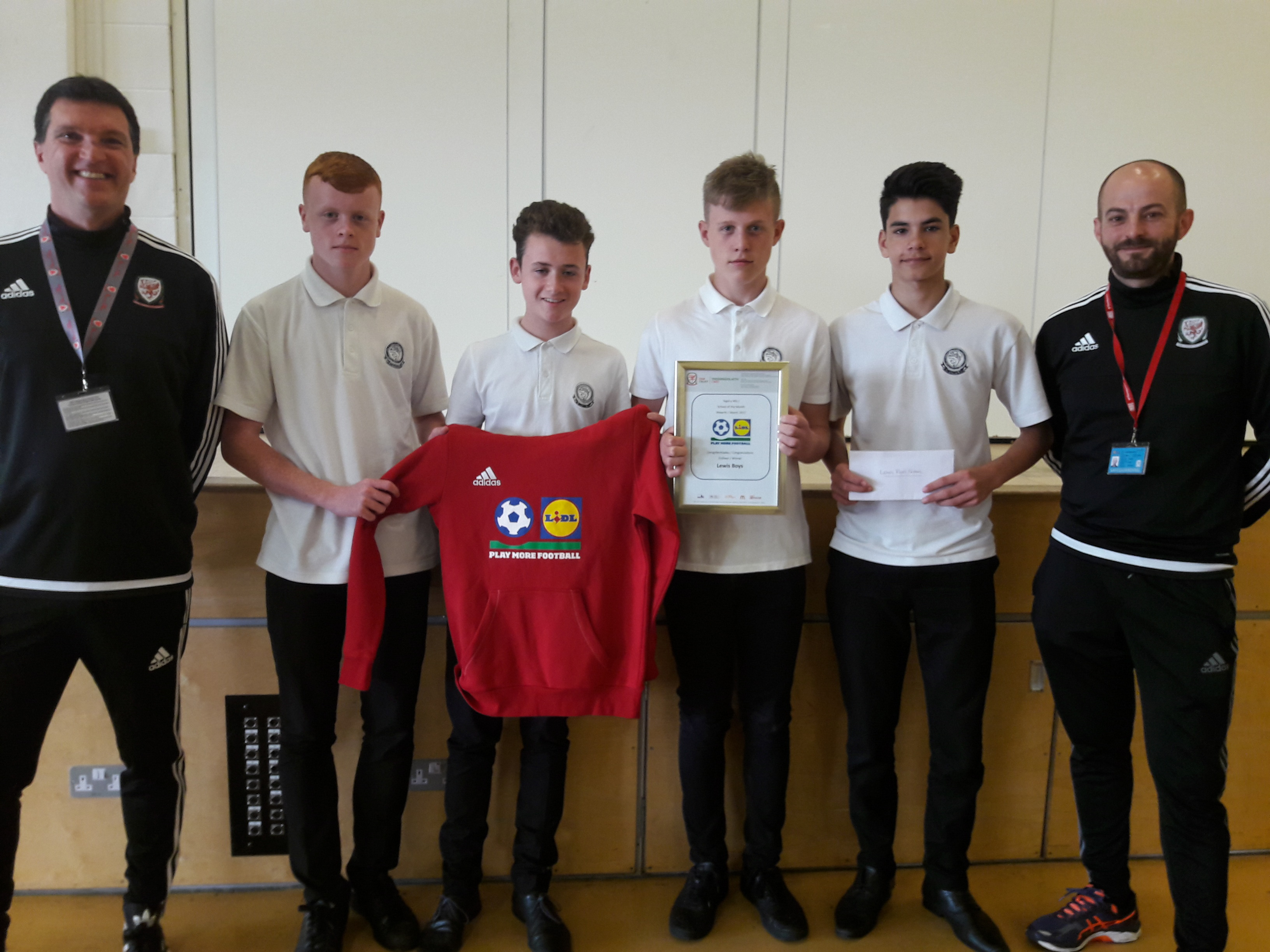 Lewis School Pengam win Lidl Play More Football School of the Month