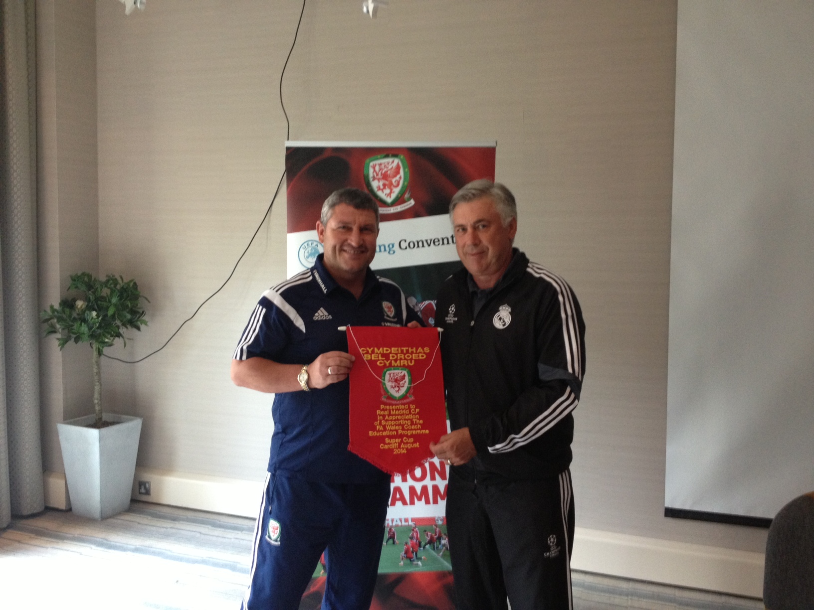 Real Madrid's Carlo Ancelotti speaks to FAW/UEFA Pro Licence Course