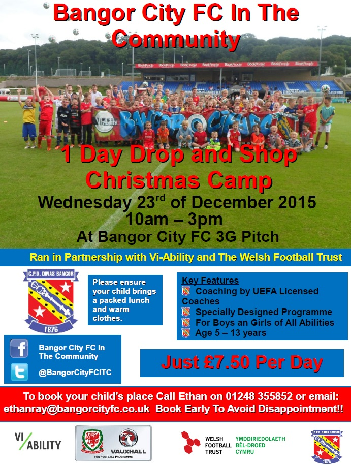 BANGOR CITY FC IN THE COMMUNITY OFFERING XMAS DROP AND SHOP FOOTBALL CAMP