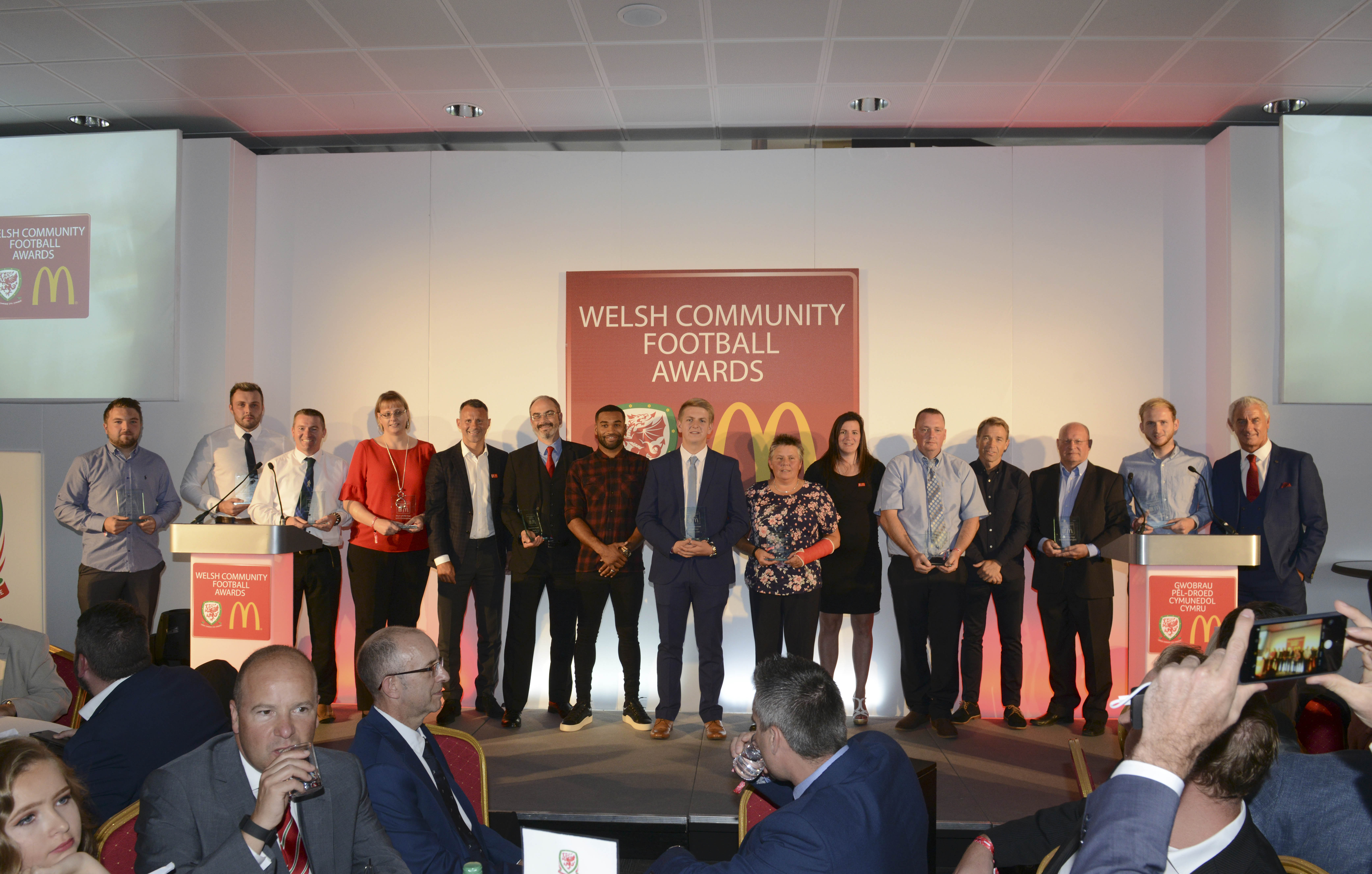 Ian Rush and Ryan Giggs celebrate grassroots football at McDonald's awards ceremony