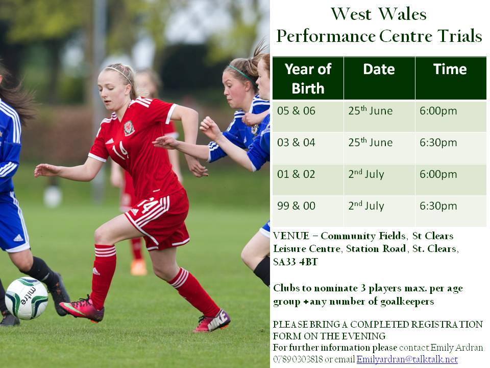 West Wales Girls Performance Centre Trials