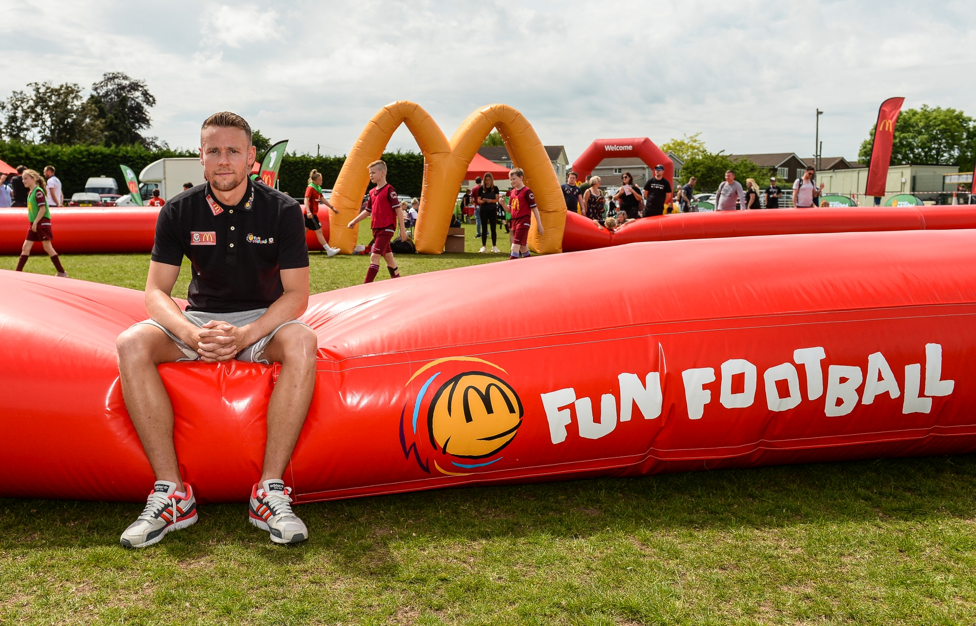 Fun Football Festival: Chris Gunter joins thousands of excited children at Undy AFC