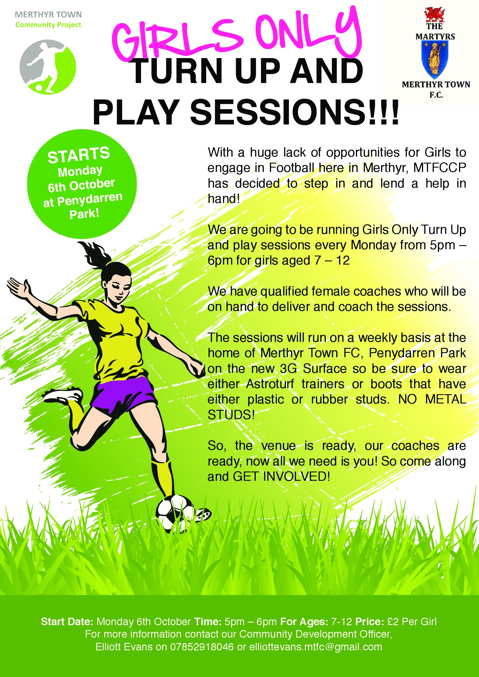 Girls Football with Merthyr Town Community Project