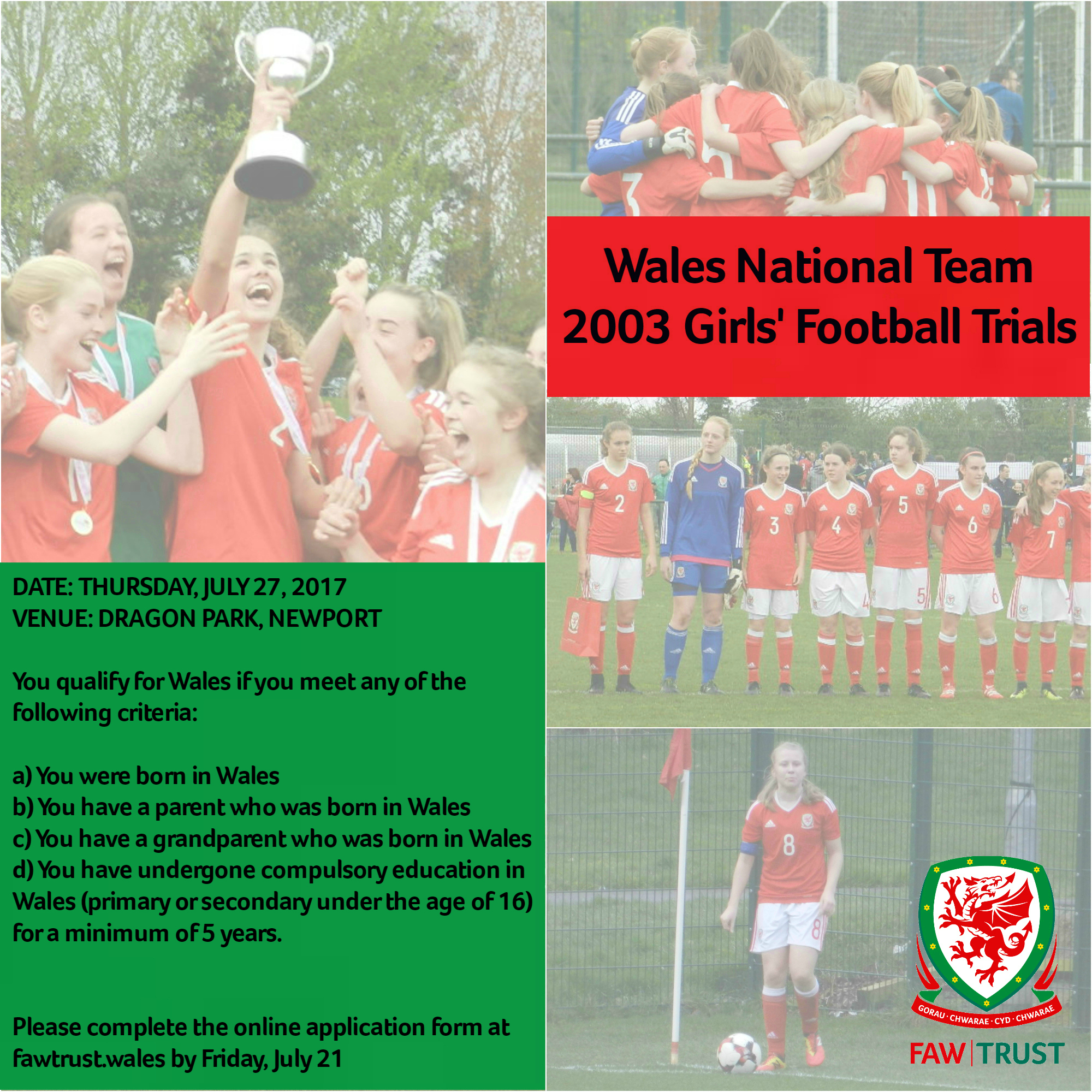 Sign up here for the Wales National Team 2003 Girls' Football Trials