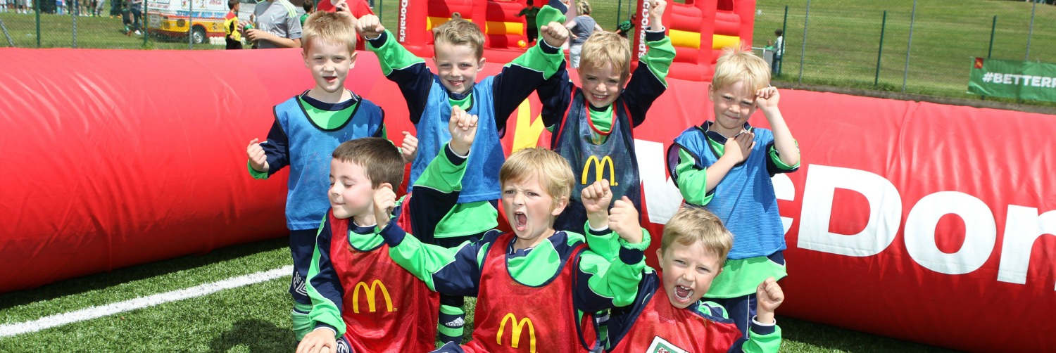 Hundreds of excited children join in McDonalds community football day